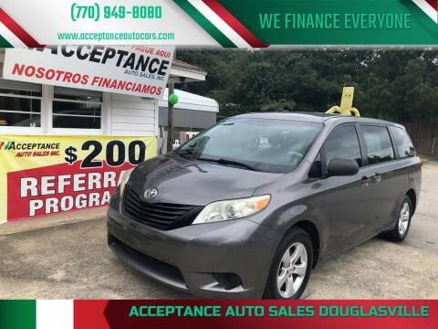 2012 Toyota Sienna for sale at Acceptance Auto Sales Douglasville in Douglasville GA