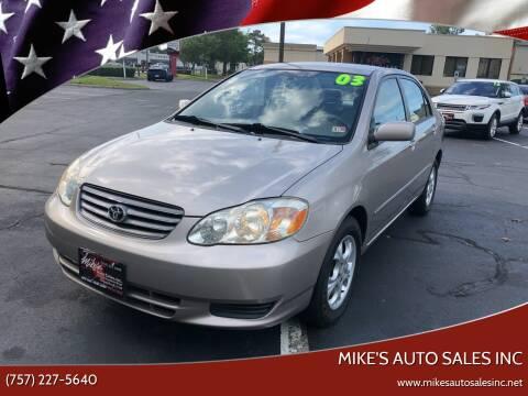 2003 Toyota Corolla for sale at Mike's Auto Sales INC in Chesapeake VA