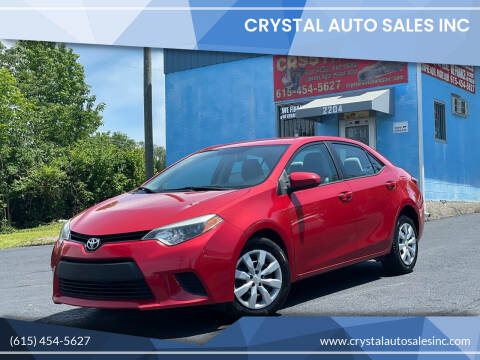 2014 Toyota Corolla for sale at Crystal Auto Sales Inc in Nashville TN