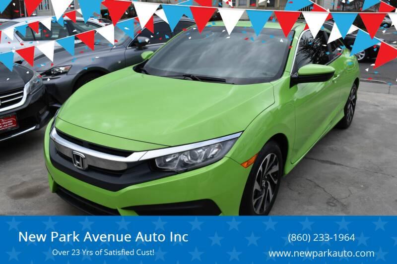 2016 Honda Civic for sale at New Park Avenue Auto Inc in Hartford CT