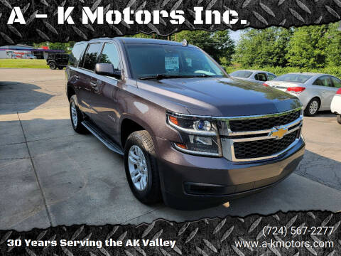 2015 Chevrolet Tahoe for sale at A - K Motors Inc. in Vandergrift PA