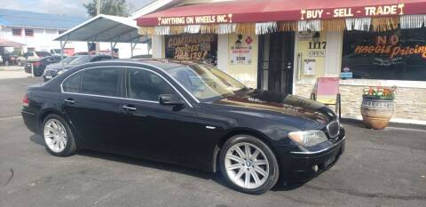 2006 BMW 7 Series for sale at ANYTHING ON WHEELS INC in Deland FL