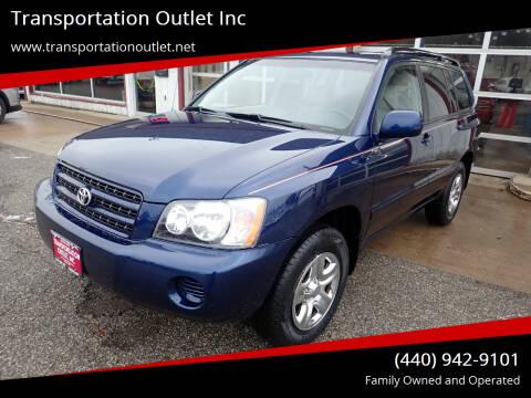 2003 Toyota Highlander for sale at Transportation Outlet Inc in Eastlake OH