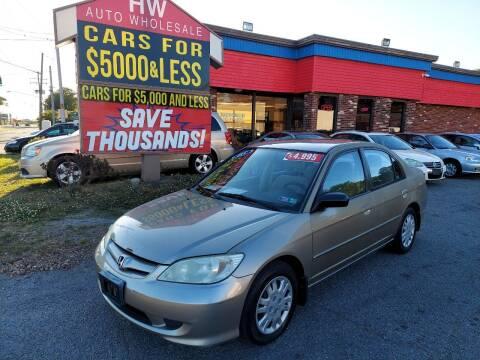 2005 Honda Civic for sale at HW Auto Wholesale in Norfolk VA