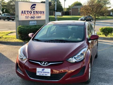 2014 Hyundai Elantra for sale at Auto Union LLC in Virginia Beach VA