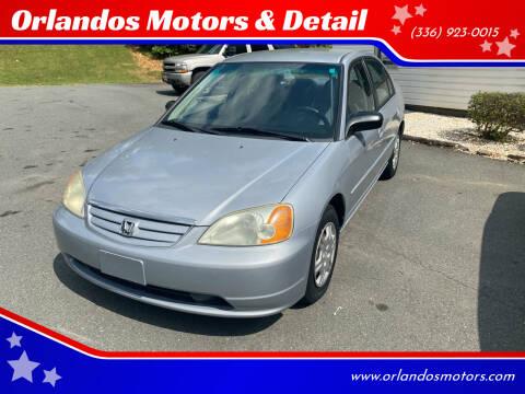 2002 Honda Civic for sale at Orlandos Motors & Detail in Winston Salem NC