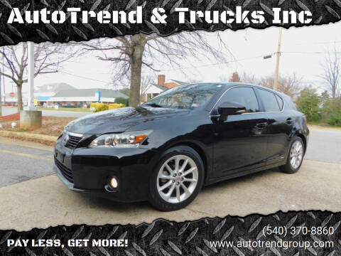 2012 Lexus CT 200h for sale at AutoTrend & Trucks Inc in Fredericksburg VA