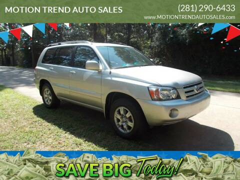 2007 Toyota Highlander for sale at MOTION TREND AUTO SALES in Tomball TX