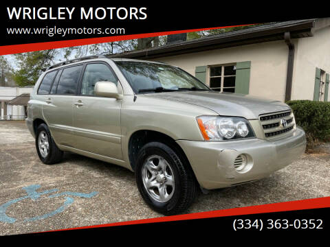 2002 Toyota Highlander for sale at WRIGLEY MOTORS in Opelika AL