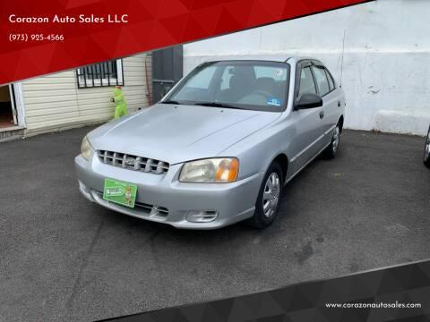 2002 Hyundai Accent for sale at Corazon Auto Sales LLC in Paterson NJ