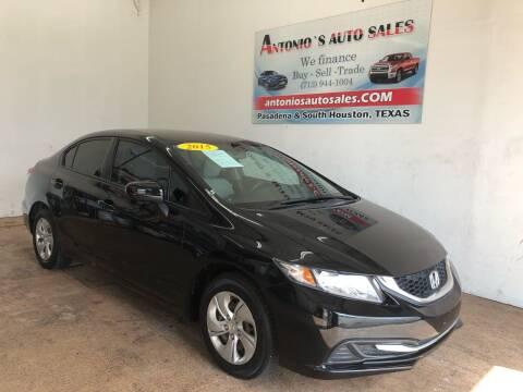 2015 Honda Civic for sale at Antonio's Auto Sales - Antonio`s  3001 in Pasadena TX