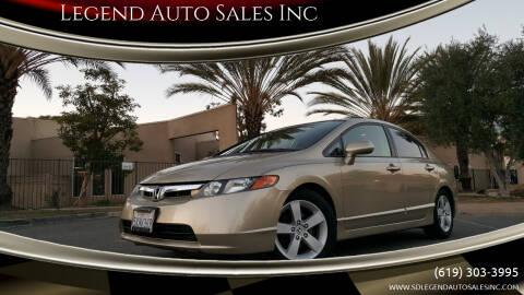 2007 Honda Civic for sale at Legend Auto Sales Inc in Lemon Grove CA
