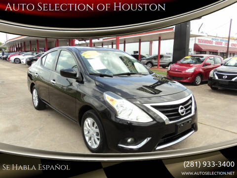 2018 Nissan Versa for sale at Auto Selection of Houston in Houston TX