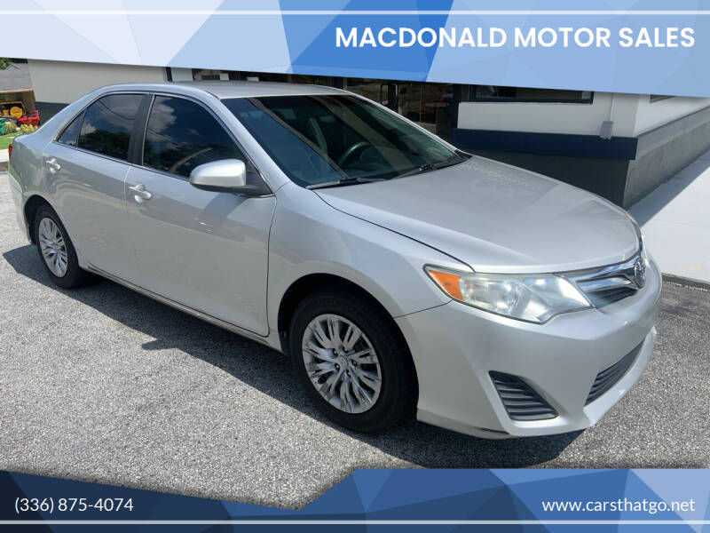 2012 Toyota Camry for sale at MacDonald Motor Sales in High Point NC