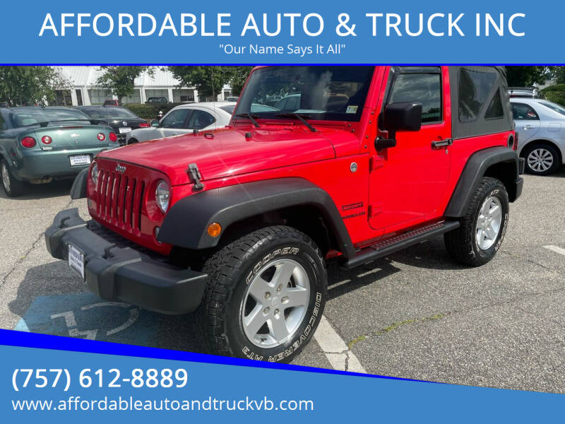 2015 Jeep Wrangler for sale at AFFORDABLE AUTO & TRUCK INC in Virginia Beach VA