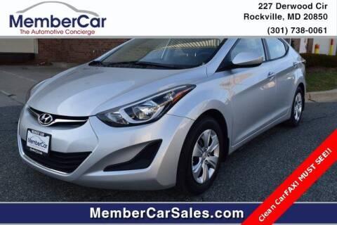 2016 Hyundai Elantra for sale at MemberCar in Rockville MD