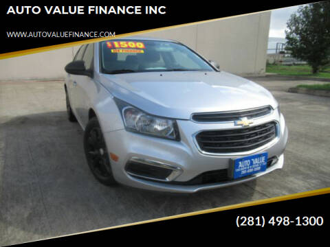 2016 Chevrolet Cruze Limited for sale at AUTO VALUE FINANCE INC in Stafford TX