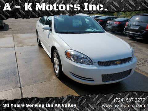 2012 Chevrolet Impala for sale at A - K Motors Inc. in Vandergrift PA
