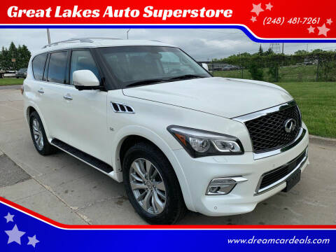 2015 Infiniti QX80 for sale at Great Lakes Auto Superstore in Pontiac MI