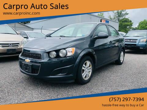 2015 Chevrolet Sonic for sale at Carpro Auto Sales in Chesapeake VA