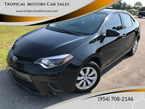 2015 Toyota Corolla for sale at Tropical Motors Car Sales in Deerfield Beach FL