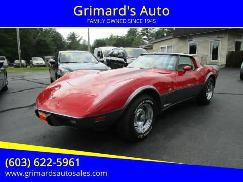 1978 Chevrolet Corvette for sale at Grimard's Auto in Hooksett NH