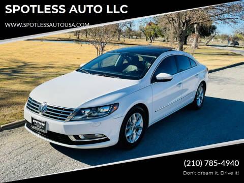 2014 Volkswagen CC for sale at SPOTLESS AUTO LLC in San Antonio TX