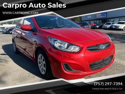 2012 Hyundai Accent for sale at Carpro Auto Sales in Chesapeake VA