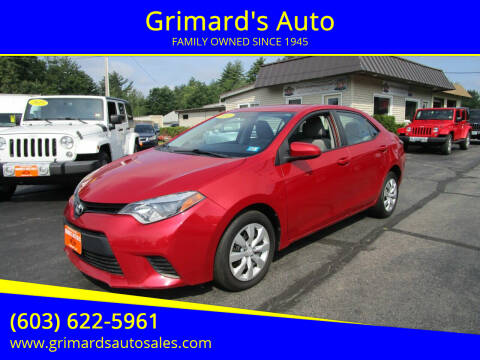 2014 Toyota Corolla for sale at Grimard's Auto in Hooksett NH