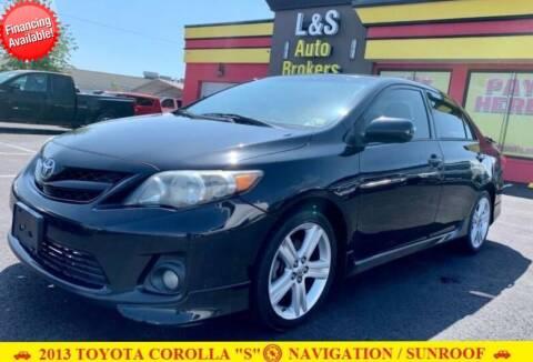 2013 Toyota Corolla for sale at L & S AUTO BROKERS in Fredericksburg VA