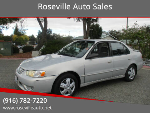 2001 Toyota Corolla for sale at Roseville Auto Sales in Roseville CA