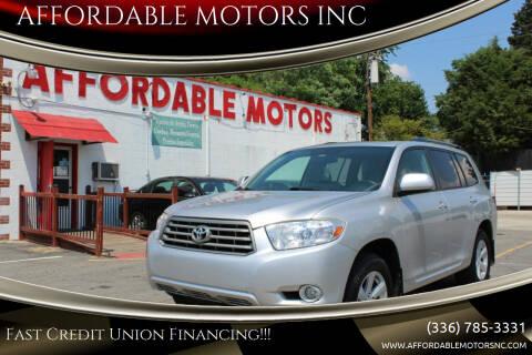 2010 Toyota Highlander for sale at AFFORDABLE MOTORS INC in Winston Salem NC