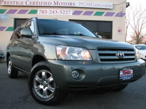 2006 Toyota Highlander for sale at Prestige Certified Motors in Falls Church VA