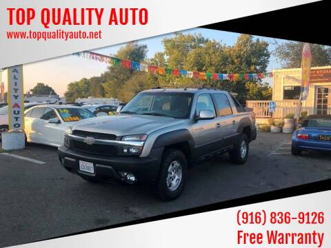 2003 Chevrolet Avalanche for sale at TOP QUALITY AUTO in Rancho Cordova CA