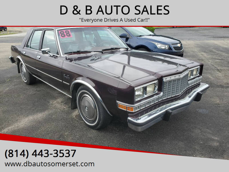 1988 Plymouth Gran Fury for sale at D & B AUTO SALES in Somerset PA