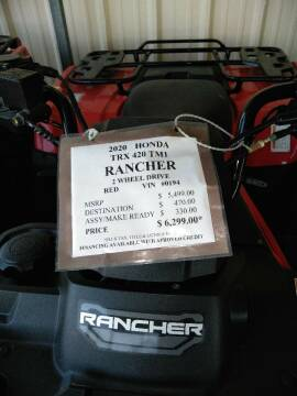 2020 Honda Trx420TM Rancher 2 Wheel Drive for sale at Irv Thomas Honda Suzuki Polaris in Corpus Christi TX
