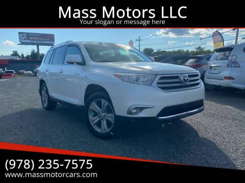 2013 Toyota Highlander for sale at Mass Motors LLC in Worcester MA