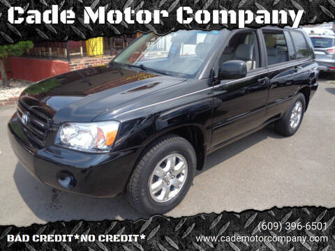 2006 Toyota Highlander for sale at Cade Motor Company in Lawrence Township NJ