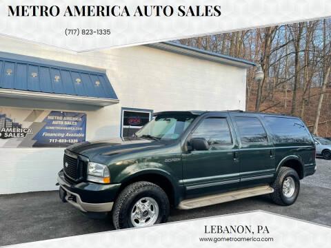 2002 Ford Excursion for sale at METRO AMERICA AUTO SALES of Lebanon in Lebanon PA