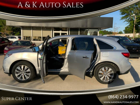 2015 Acura MDX for sale at A & K Auto Sales in Mauldin SC