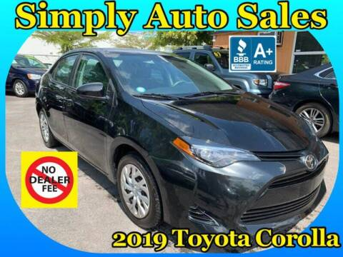 2019 Toyota Corolla for sale at Simply Auto Sales in Palm Beach Gardens FL