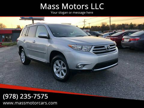 2011 Toyota Highlander for sale at Mass Motors LLC in Worcester MA