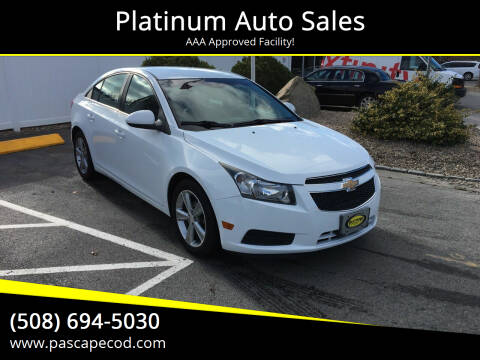 2013 Chevrolet Cruze for sale at Platinum Auto Sales in South Yarmouth MA