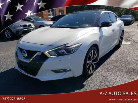 2016 Nissan Maxima for sale at A-Z Auto Sales in Newport News VA