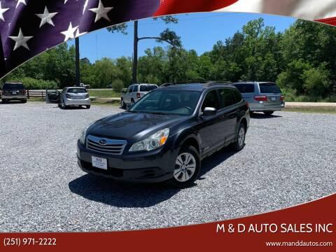 2011 Subaru Outback for sale at M & D Auto Sales Inc in Foley AL