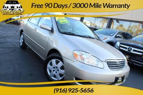 2007 Toyota Corolla for sale at West Coast Auto Sales Center in Sacramento CA