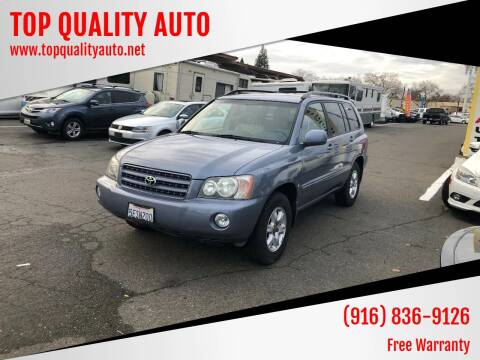 2003 Toyota Highlander for sale at TOP QUALITY AUTO in Rancho Cordova CA