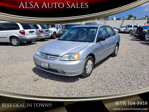 2003 Honda Civic for sale at ALSA Auto Sales in El Cajon CA