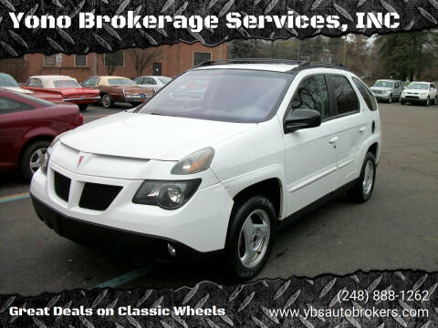 2002 Pontiac Aztek for sale at Yono Brokerage Services, INC in Farmington MI
