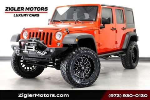 2017 Jeep Wrangler Unlimited for sale at Zigler Motors in Addison TX